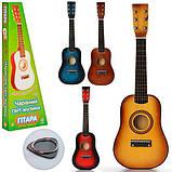 Детская гитара M1369, деревянная, 6 струн, медиатор, настройка струн. Музыкальные инструменты для детей, фото 2