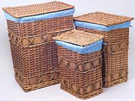 """Набор из трех закрытых корзин для белья """"Blue Polka"""""""