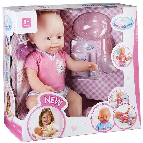 Пупс Warm Baby 8009-435, їсть, ходить на горщик, плаче справжніми слізками, при натисканні на ручку пищить
