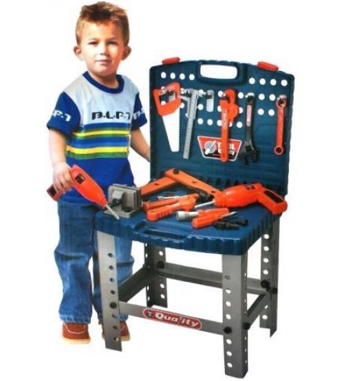 Дитячий набір інструментів Моя майстерня 008-22, валізу на ніжках, 57 деталей, іграшкові інструменти