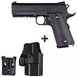 Детский металлический пистолет Galaxy G25+ (Colt 1911), страйкбольный Кольт с кобурой, пистолеты на пульках, фото 4