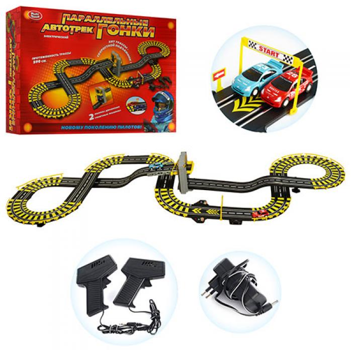 Детский автотрек 0817, две машины, скоростной подъемник, работает от 220В, игрушки гонки, длина дороги 590см
