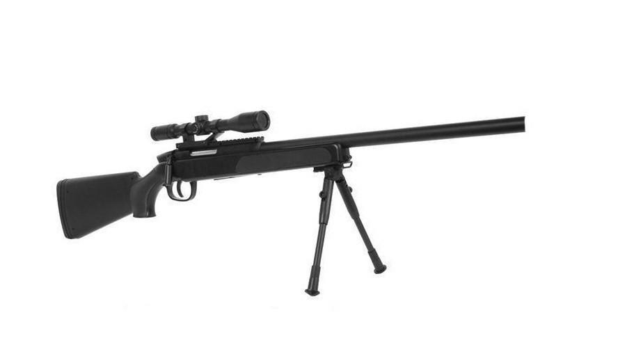 Детская винтовка приближенная к настоящей, ZM51 на пульках, с прицелом и сошками, игрушечная снайперка