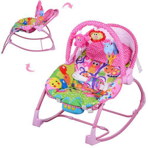 Шезлонг качалка дитячий PK 308 рожевий, музика, вібро, качалка для діток, крісло качалка