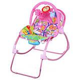 Шезлонг качалка дитячий PK 308 рожевий, музика, вібро, качалка для діток, крісло качалка, фото 2