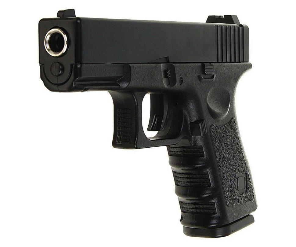 Спринговый металлический пистолет G15+ (Glock 23) с кобурой, Глок 23, страйкбол, пистолеты на пульках