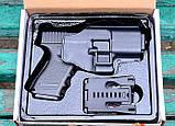 Спринговый металлический пистолет G15+ (Glock 23) с кобурой, Глок 23, страйкбол, пистолеты на пульках, фото 5