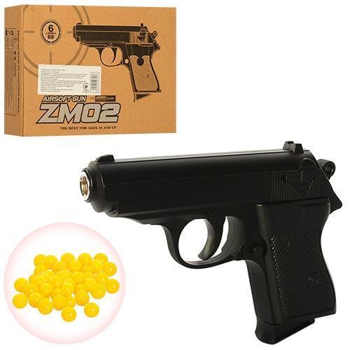 Детский пистолет с пульками ZM02, пневматический, копия Вальтера, метал