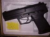 Пневматический детский игрушечный пистолет ZM20, на пульках, металлический, копия Heckler and Koch USP, фото 5