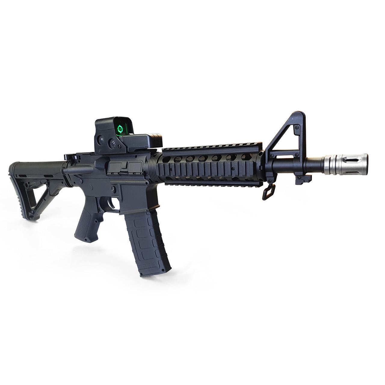Игрушечная винтовка M4A1 на орбизах, колиматор, стреляет очередью, на аккумуляторе, мягкие пули, автомат м16