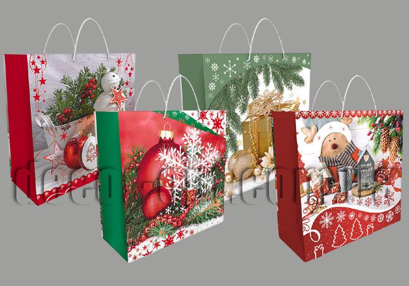 Подарочные новогодние картонные пакеты 34БК 323*323*140мм/1шт