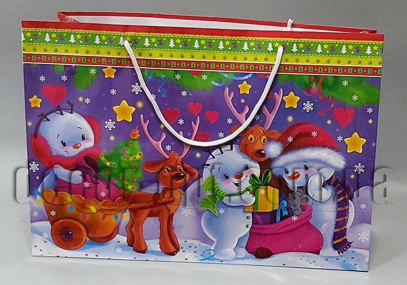 Подарочные детские новогодние картонные большие пакеты 490х340х170мм/1шт