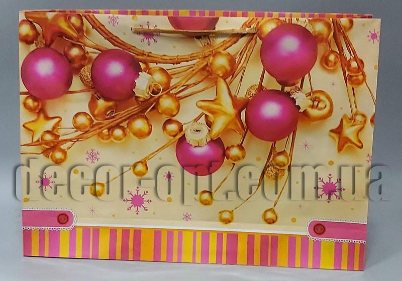 Подарочные новогодние картонные большие пакеты 535х380х130мм/1шт