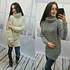 Удлиненный вязаный свитер с горловиной, фото 3