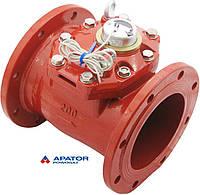 Водосчетчик Apator PoWoGaz MWN-130-200-NK (ГВ) с импульсным выходом турбинный Ду-200 сухоход промышленный