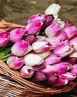 Картина малювання за номерами Brushme Кошик тюльпанів 40х50см малювання розпис по номерах, пензлі, фарби,