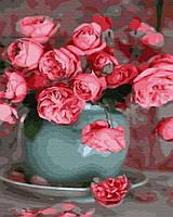 Картина малювання за номерами Brushme Чайні троянди 40х50см малювання розпис по номерах, пензлі, фарби,