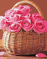 Картина малювання за номерами Brushme Кошик рожевих троянд 40х50см малювання розпис по номерах, пензлі, фарби,