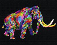 Картина малювання за номерами Brushme Райдужний мамонт 40х50см малювання розпис по номерах, пензлі, фарби,