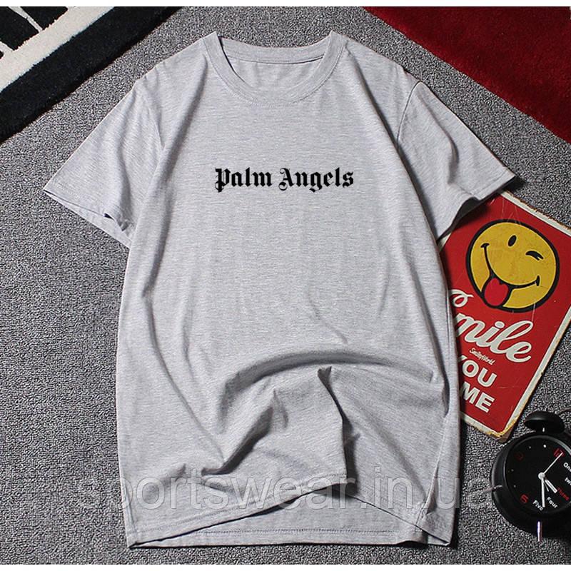 Футболка Palm Angels Base Logo серая с черным лого, унисекс
