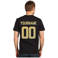 Мужская именная футболка с номером (золото)