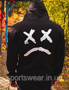 Черное худи Lil Peep Face унисекс xx Sad Smile