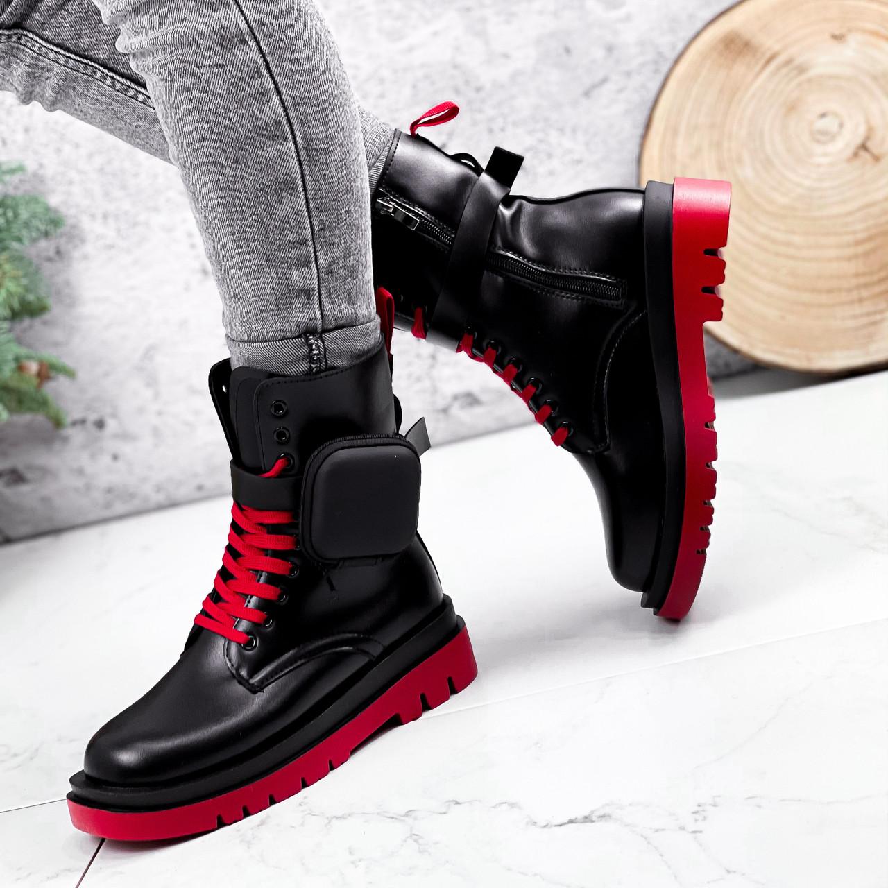 Ботинки женские Emma черные с красным ДЕМИ 2728