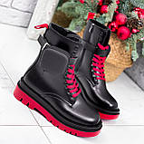 Ботинки женские Emma черные с красным ДЕМИ 2728, фото 2