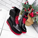 Ботинки женские Emma черные с красным ДЕМИ 2728, фото 4