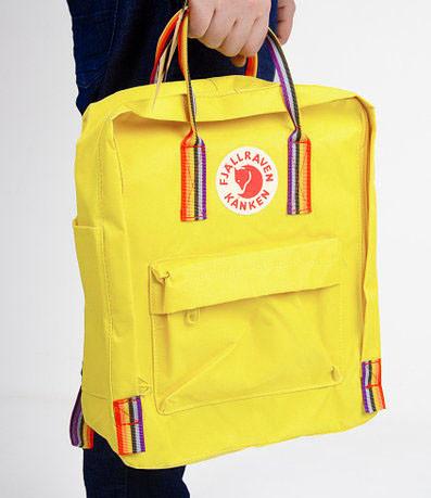 Женский рюкзак сумка канкен Fjallraven Kanken classic желтый с радужными ручками 16 литров