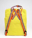 Женский рюкзак сумка канкен Fjallraven Kanken classic желтый с радужными ручками 16 литров, фото 3