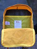 Женский рюкзак сумка канкен Fjallraven Kanken classic желтый с радужными ручками 16 литров, фото 10