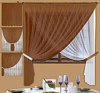Комплект штор Лиана Коричневая, кухонные