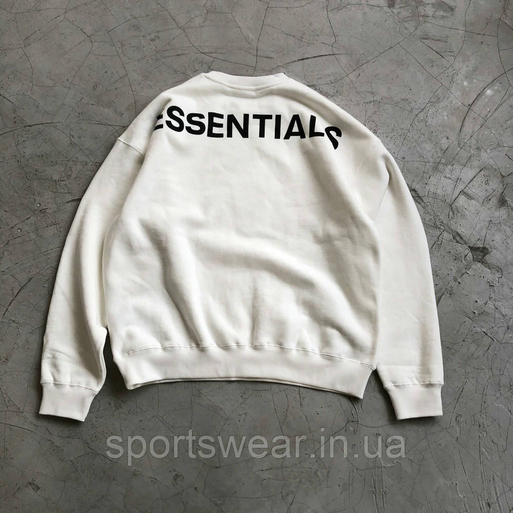 Белый свитшот Fear Of God Essentials Logo, унисекс