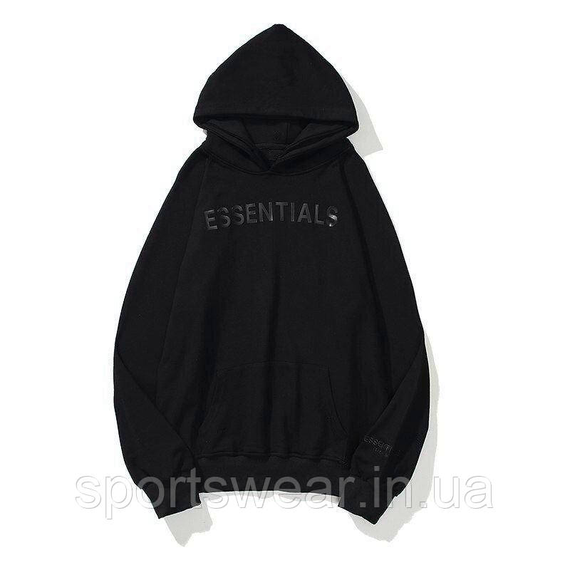 Черное худи Fear Of God Essentials 2020 Total Black Logo, унисекс