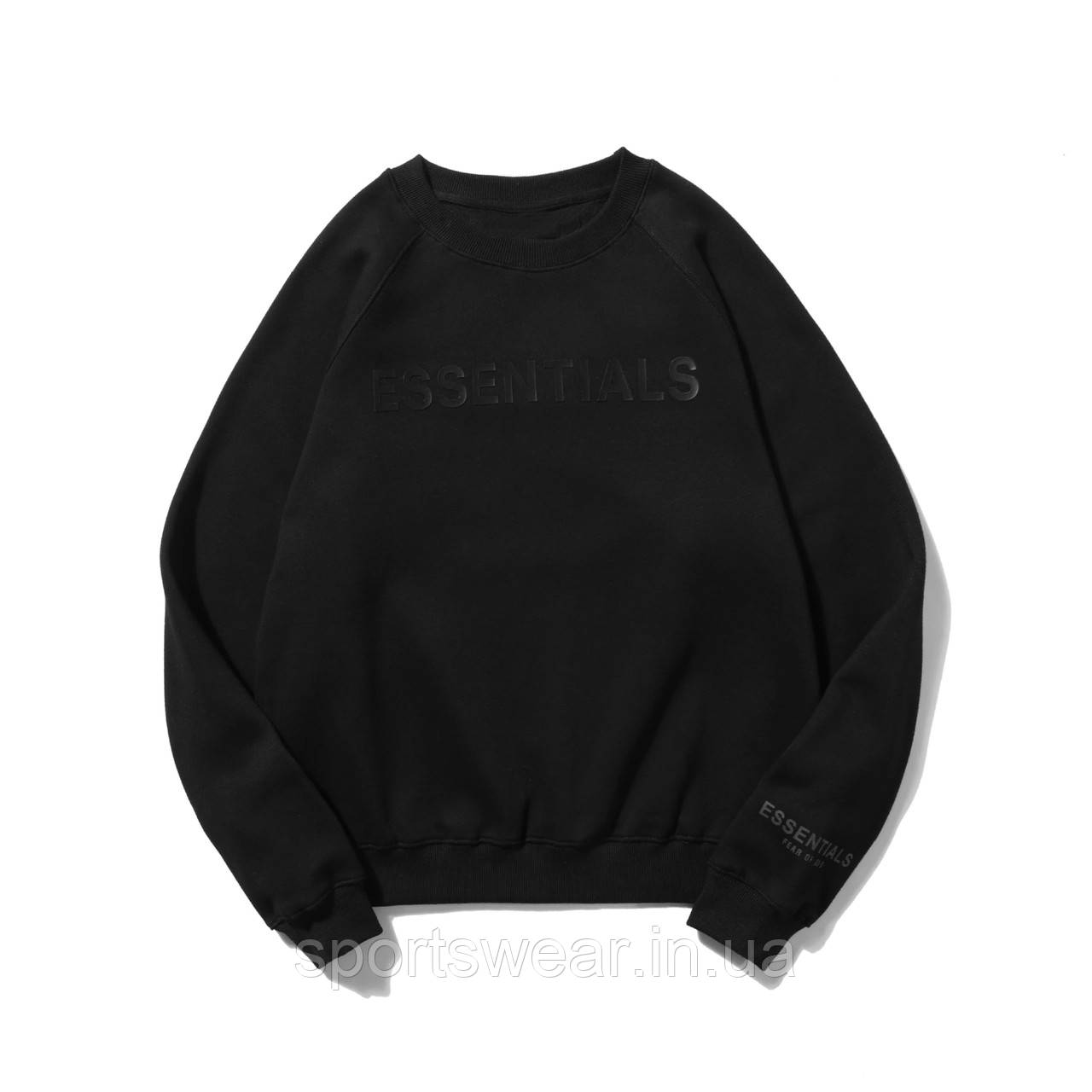 Черный свитшот Fear Of God Essentials Total Black Logo, унисекс