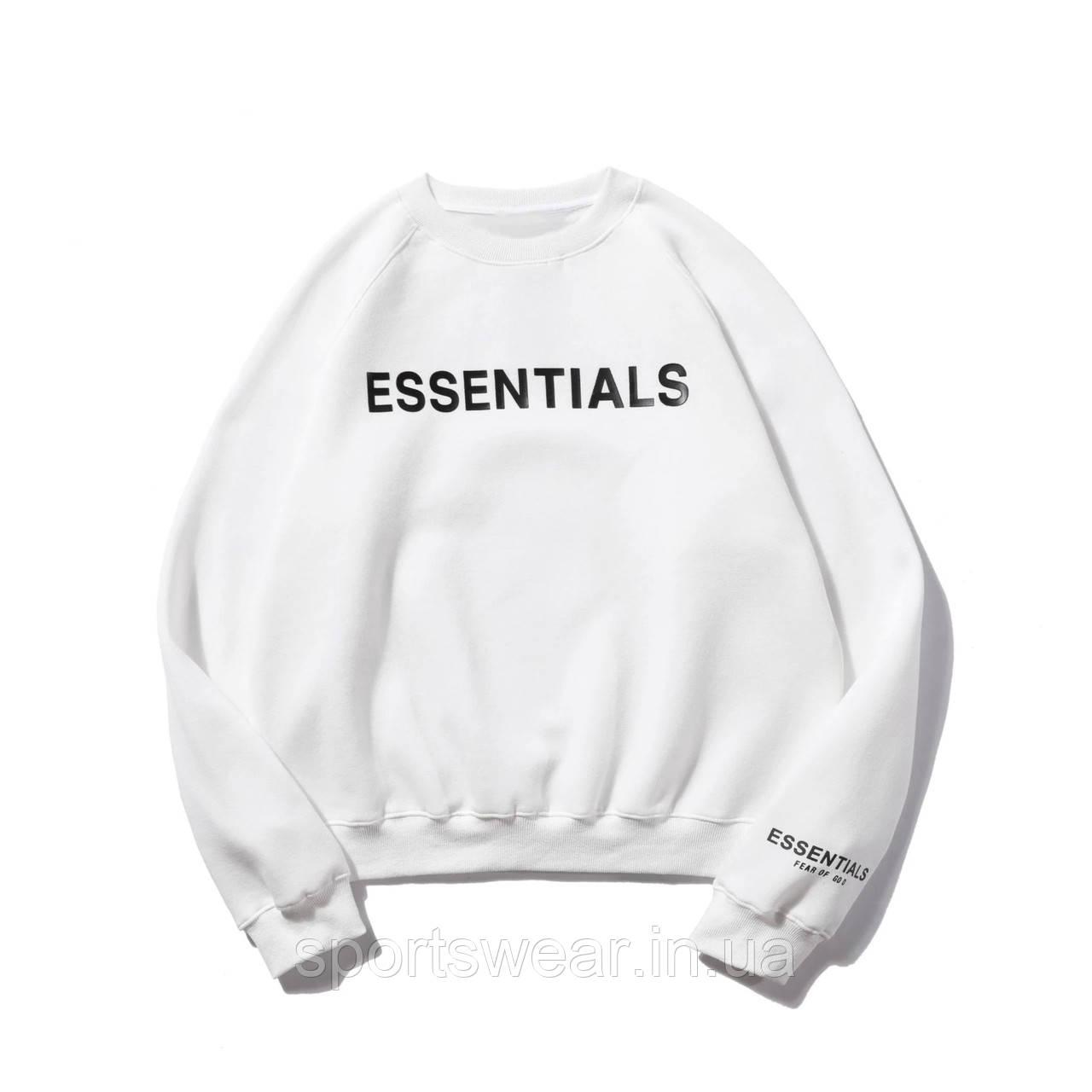 Белый свитшот Fear Of God Essentials Mod Logo, унисекс