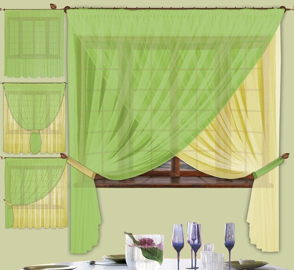 Комплект штор Лиана Зеленая, кухонные