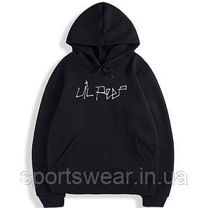 Толстовка черная Lil Peep Logo Кенгуру весна, лето, осень  Худи с принтом Лили Пип для девушки, парня, унисекс