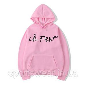 Розовое худи Lil Peep Black Logo, унисекс