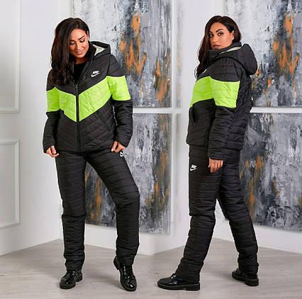 """Женский зимний лыжный костюм в больших размерах 1016-1 """"Полоска Лого"""" в расцветках"""