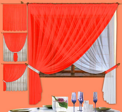 Комплект штор Лиана Алая, кухонные, фото 2