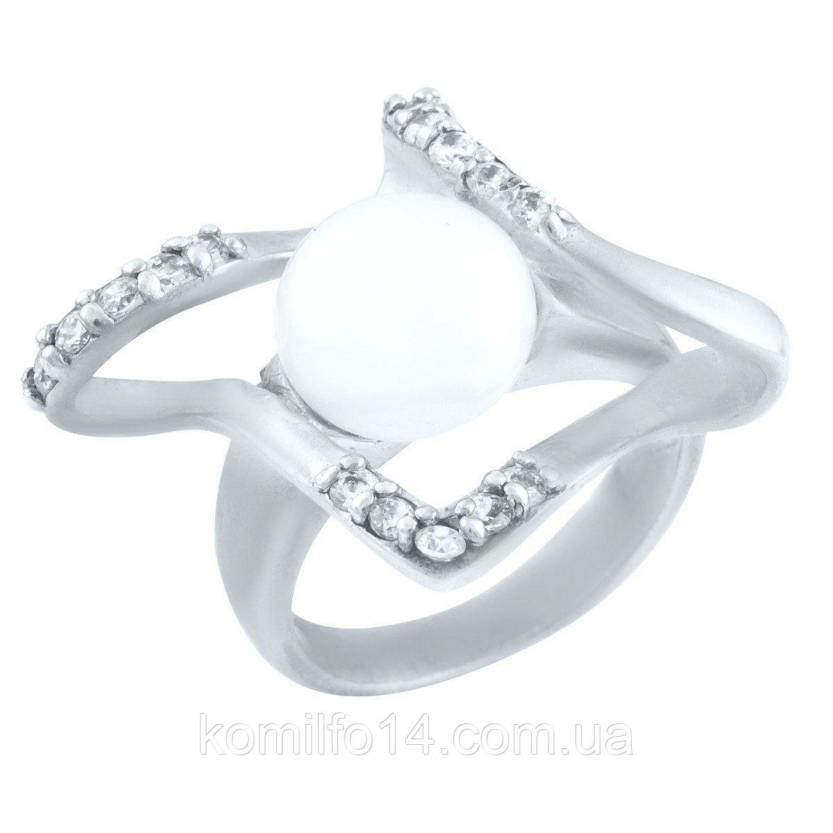 Срібне кільце з натуральними перлами