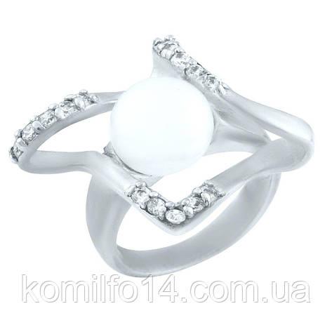 Срібне кільце з натуральними перлами, фото 2