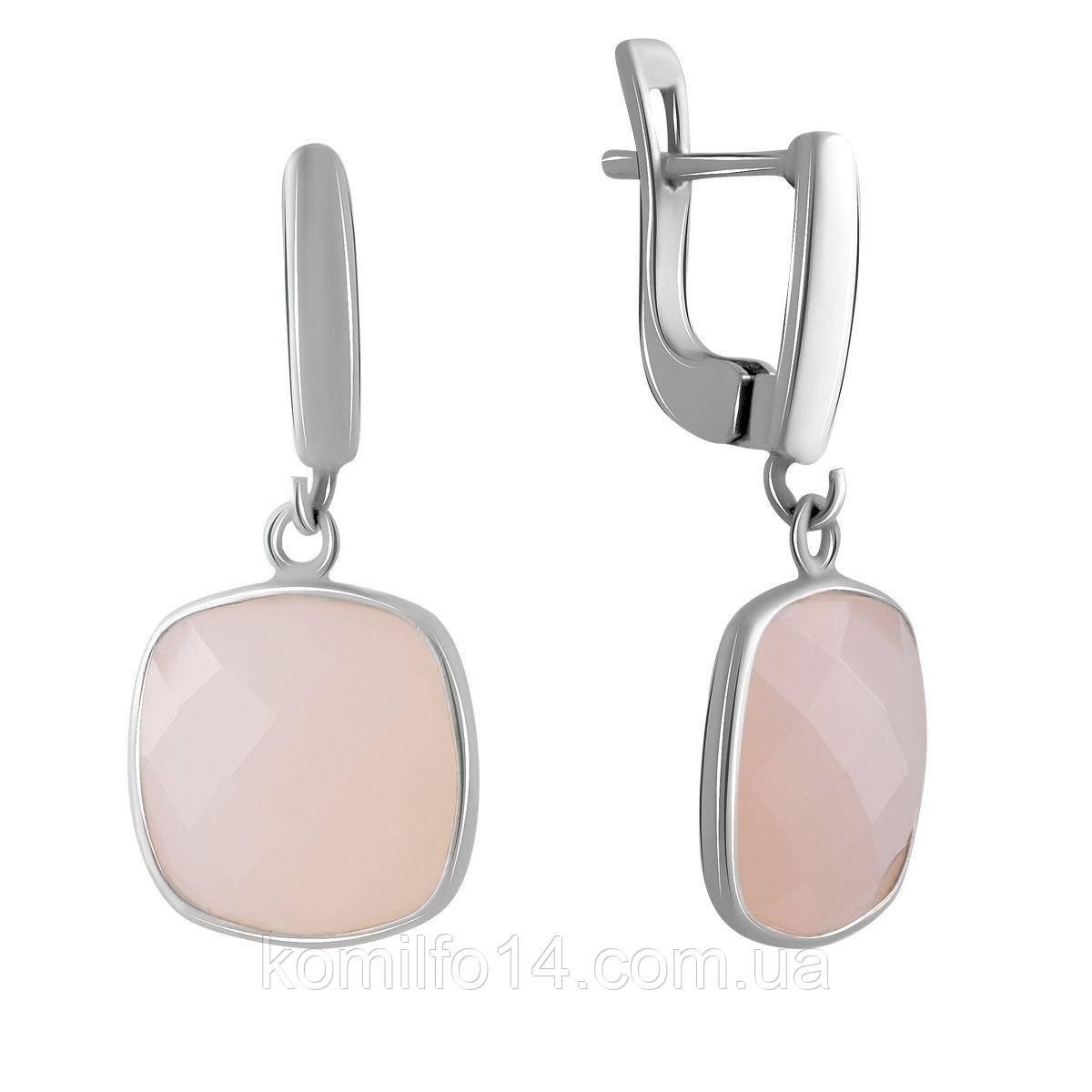Серебряные серьги Komilfo с натуральным розовым кварцем (2064756)