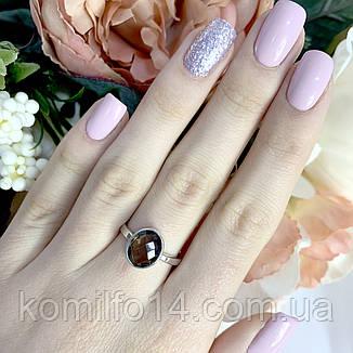 Серебряное кольцо с натуральным раухтопазом (дымчатый кварц), фото 2