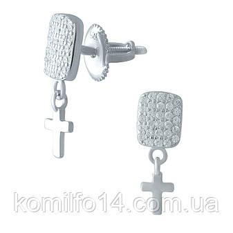 Срібні сережки Komilfo з фіанітами (1974797), фото 2