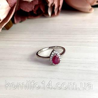 Серебряное кольцо с натуральным рубином, фото 2