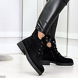 Модельные зимние черные замшевые женские ботинки в заклепках низкий ход  36-23,5см, фото 2