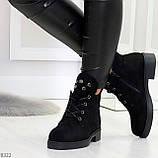 Модельные зимние черные замшевые женские ботинки в заклепках низкий ход  36-23,5см, фото 3